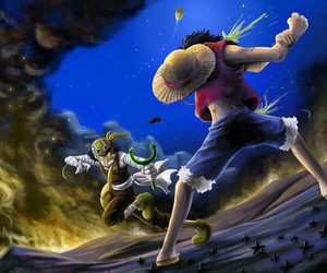 one piece, usopp, and luffy image