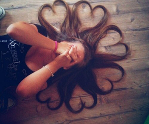 hair, heart, and girl image