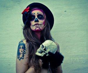 girl, tattoo, and skull image