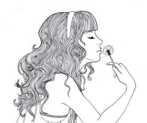 girl, drawing, and dandelion image