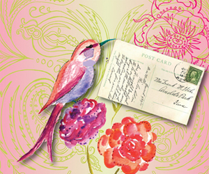 bird, flowers, and Letter image