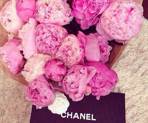 flowers, chanel, and peonies image