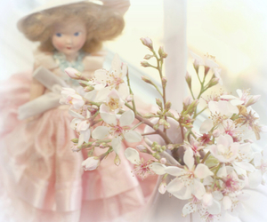 doll, flowers, and shabby chic image