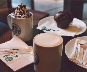starbucks, coffee, and muffin image