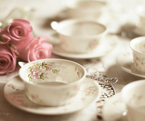 rose, tea, and flowers image
