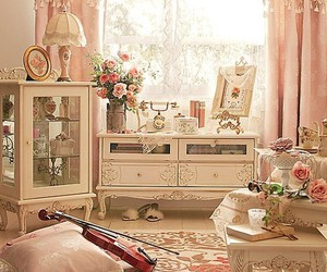 room, pink, and violin image