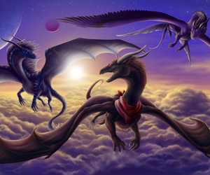 beautiful, clouds, and dragon image