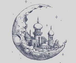 background, castle, and stars image