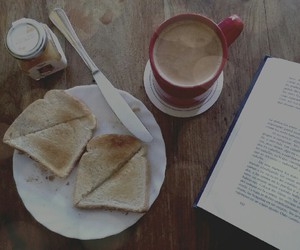 book, reading, and breakfast image