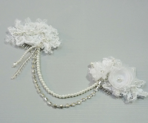 hair, wedding, and lace image