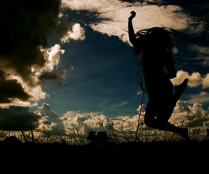 girl, sky, and clouds image