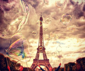 clouds, eiffel tower, and paris image