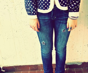 feet, jeans, and polka dots image