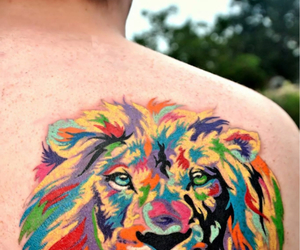 lion watercolor tattoo image