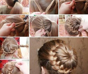 braid, diy hair, and bun image