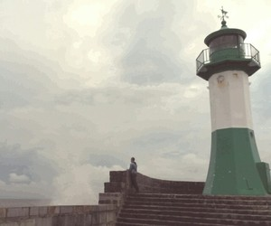 beacon, lighthouse, and sea image