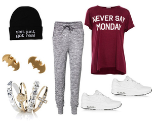 beanie, sweatpants, and clothes image
