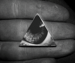 black and white, eye, and finger image