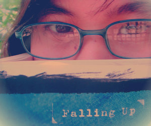 books, falling up, and glasses image