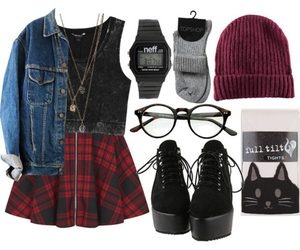 beanie, denim jacket, and clothes image