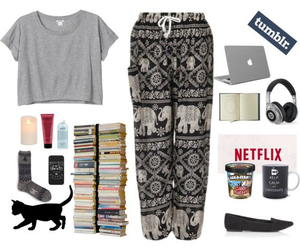 apple, books, and clothes image