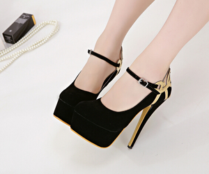 black, shoes, and gold image