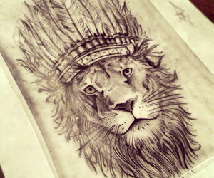 lion, draw, and sketch image