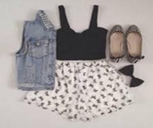 bandeau, shoes, and shorts image