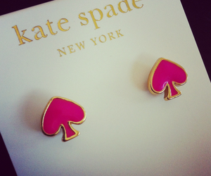 pink, earrings, and kate spade image