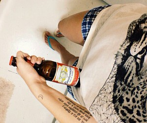 beer, girl, and look image