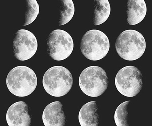 black, moon, and bw image