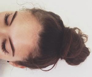 hair, bun, and girl image