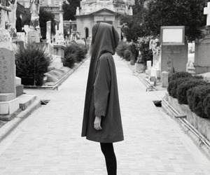 girl, cemetery, and black image