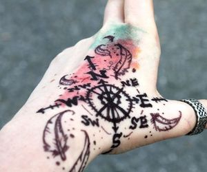 tattoo, compass, and hand image
