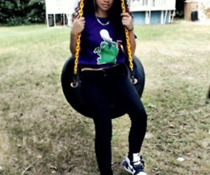 black girl, swing set, and curly hair image