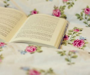 book, reading, and flowers image