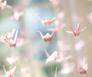 pink, origami, and bird image