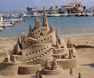 sand, castle, and beach image