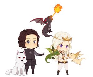 dragon, jon snow, and ghost image