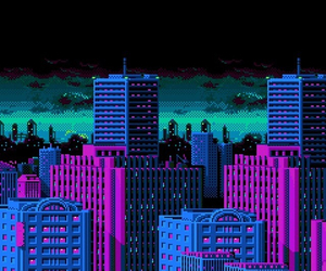 city, cyber, and pixel image