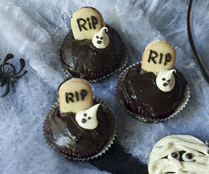 chocolate, cupcake, and ghost image