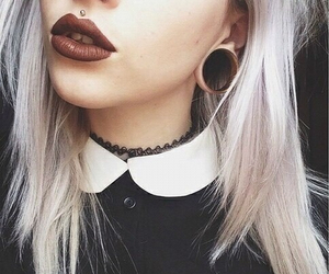 piercing, grunge, and lips image