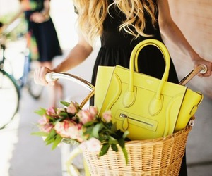 bicycle, blonde hair, and flowers image