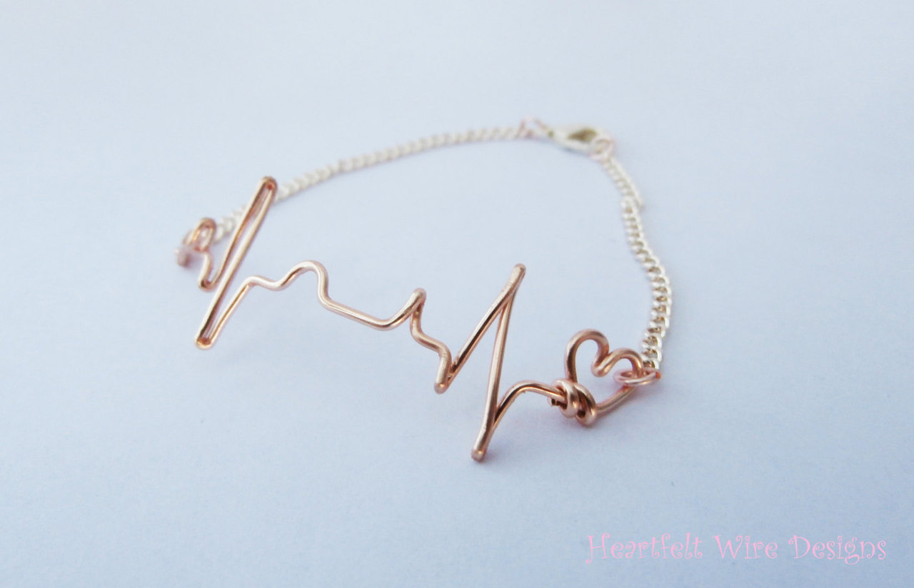 Ekg Heartbeat Bracelet Rose Gold 18
