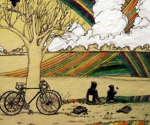 bike, fantasy, and rainbow image