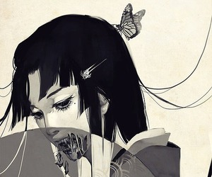 anime, art, and black and white image