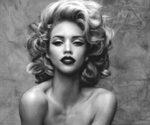 black and white, girl, and makeup image