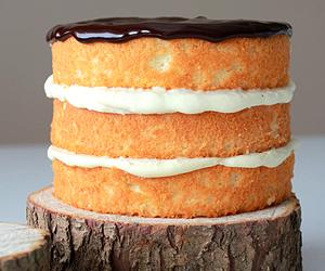 cake, boston cream pie, and chocolate image