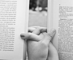book, couple, and hands image