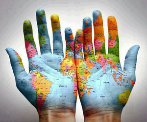world, hands, and map image